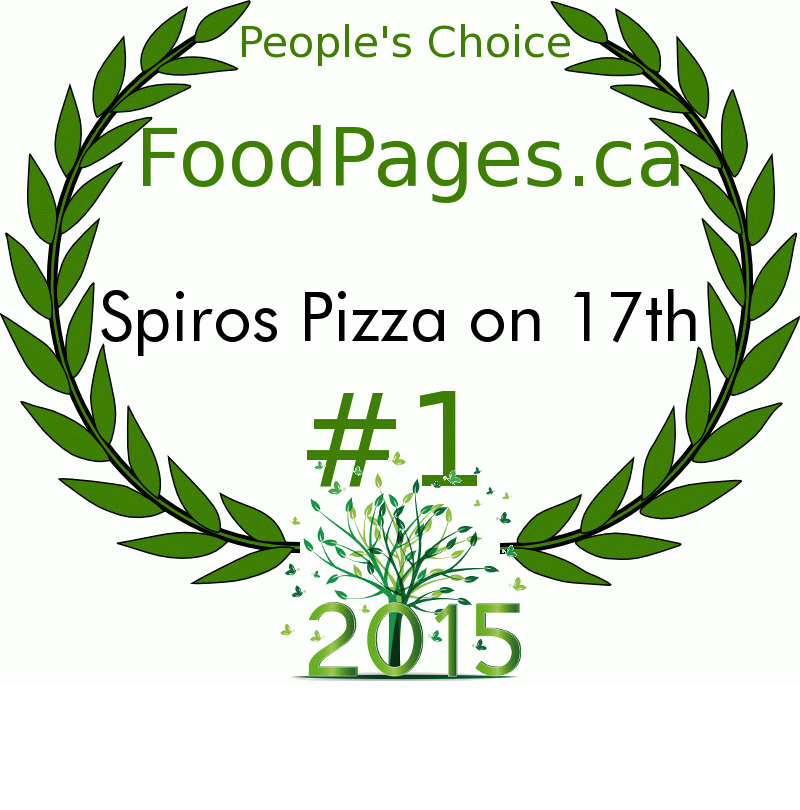 Spiros Pizza on 17th FoodPages.ca 2015 Award Winner