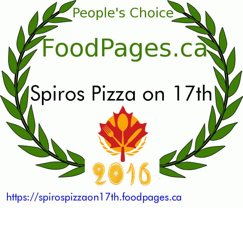Spiros Pizza on 17th FoodPages.ca 2016 Award Winner